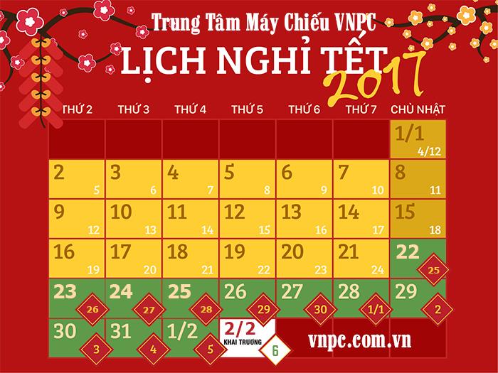 Lịch nghỉ tết Nguyên Đán Đinh Dậu 2017 của Công ty VNPC