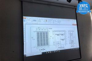 Lắp máy chiếu Sony VPL-DX111 cũ demo bản vẽ thiết kế nhà
